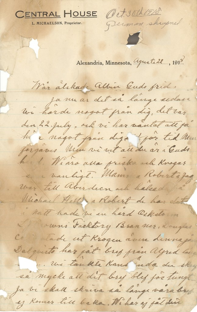Letter to Albin in Swedish p. 1