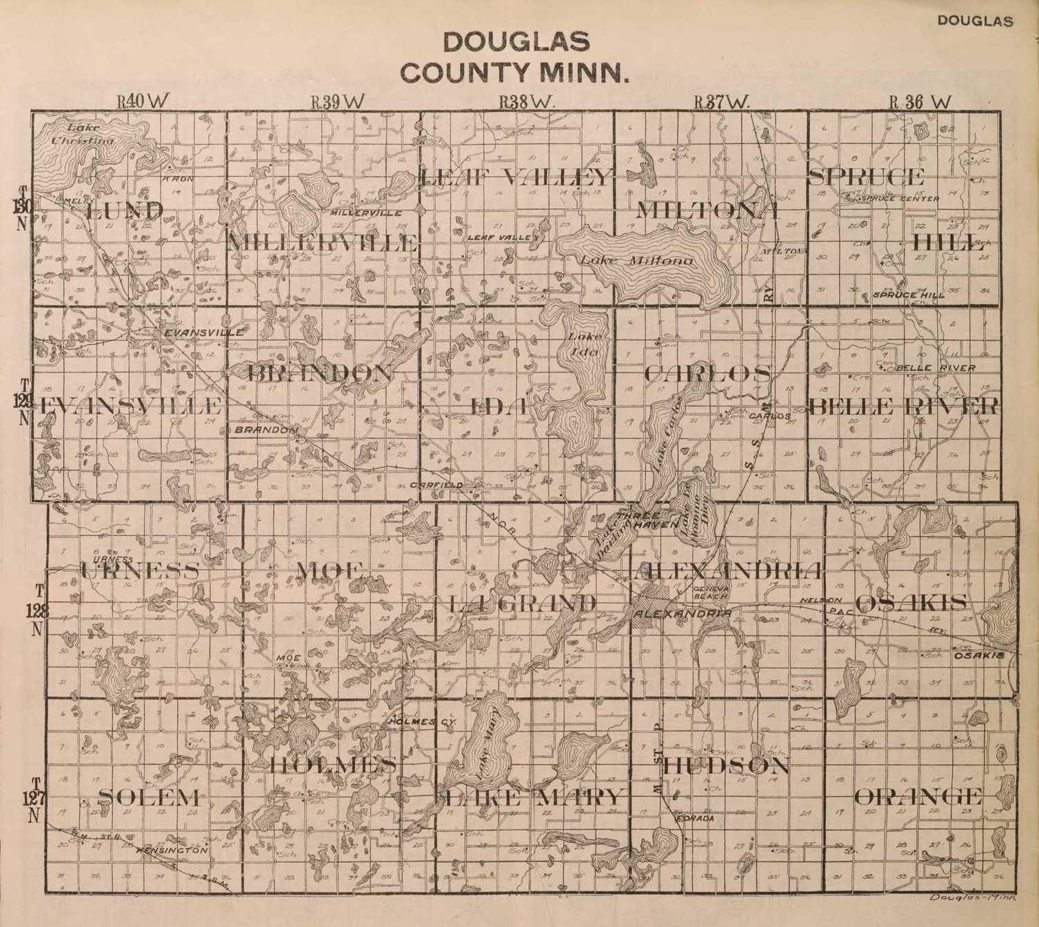 County Minnesota Map.Townships Of Douglas County Minnesota Douglas County Historical