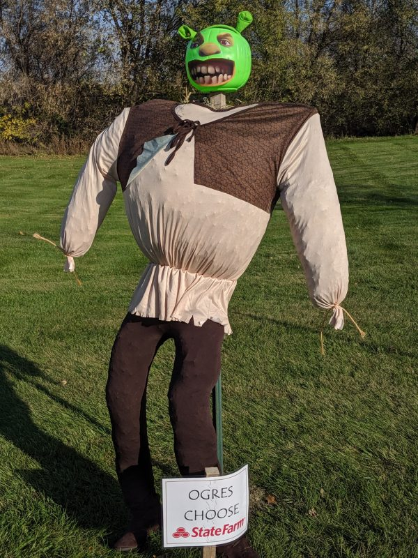 Scarecrow #5, Shrek made by Amy Christopherson State Farm.