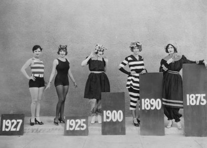 a picture of five women, arranged from 1927 to 1875, showing how swimsuits became more revealing over time